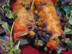 Thumbnail image for Black Bean and Avocado Enchiladas with Tomato Coconut Curry Sauce